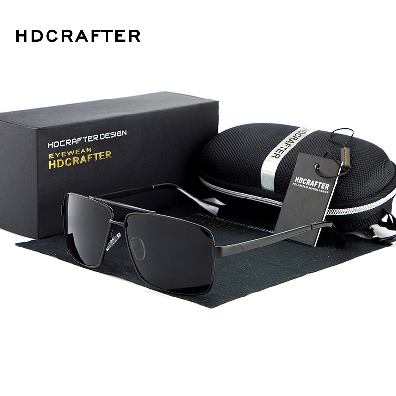 HDCRAFTER Mens Sunglasses Polarized Vintage Night Driving Glasses Brand Designer Lunettes De Soleil Pour Hommes With Cases 2018