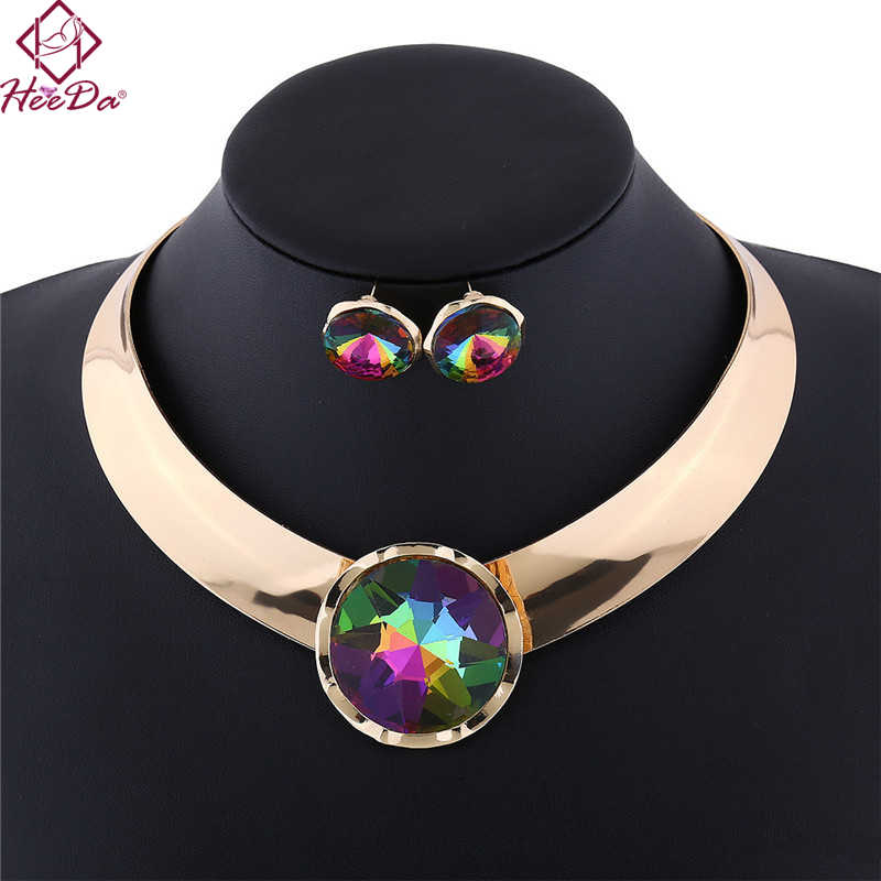 Fashion Alloy Necklace Earring Set  Punk Glossy Female Collars Black White Blue Multi Red Five Colors Jewelry Set For Women