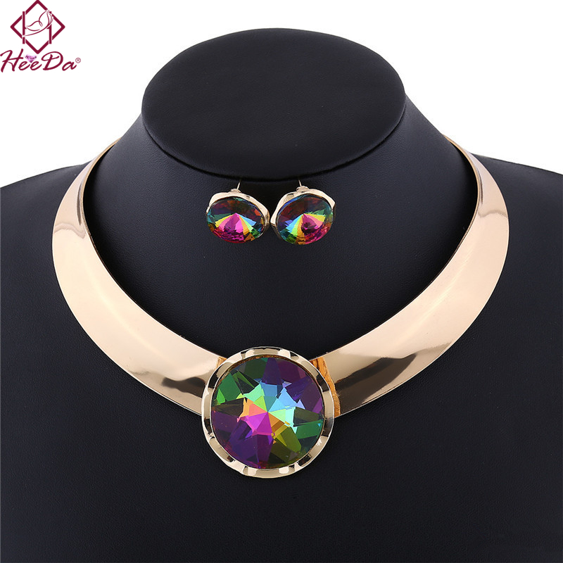 Mode Alloy Necklace Earring Set Punk Glossy Female Collars Zwart Wit - Mode-sieraden