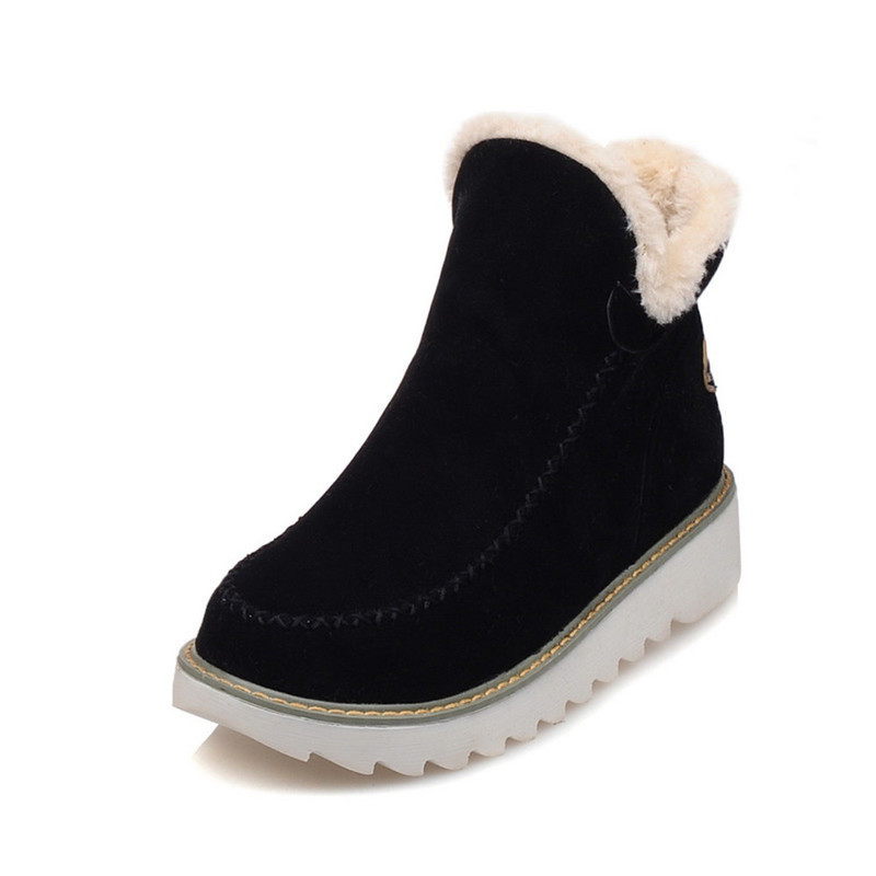 Womens Snow Boots Beige Brown Black Large Size Solid Color Warm Fur Lining Winter Ankle Boots Non-slip Wear Flat Shoes