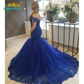 2017 Casquillo de La Manera manga Larga Backless de La Sirena Vestidos de Baile Azul Real de Noche Vestidos de Novia Vestido de Fiesta Vestidos de Noche
