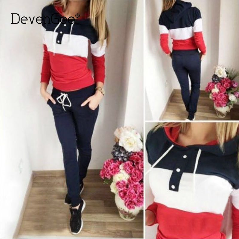 DevenGee Autumn Tracksuit Women Two Piece Clothing Set Winter Sweatshirt Pant Jogger Outfit Female Sporting 2 Piece Track Suit
