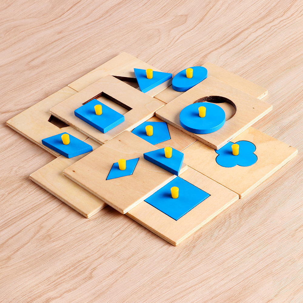 Enjoybay 10pcs Montessori Math Toys Wooden Geometry Shape Insets Kids Preschool Training Toys Educational Math Toy for Children