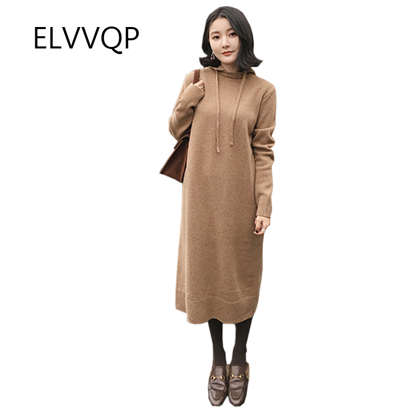 Spring new fashion women long sweater women fall winter long sleeve hooded loose large size thick warm sweater dress Vestidos sweater dress new autumn winter women warm thick turtleneck sexy knitted dress long sleeve casual bodycon dresses vestidos ab410
