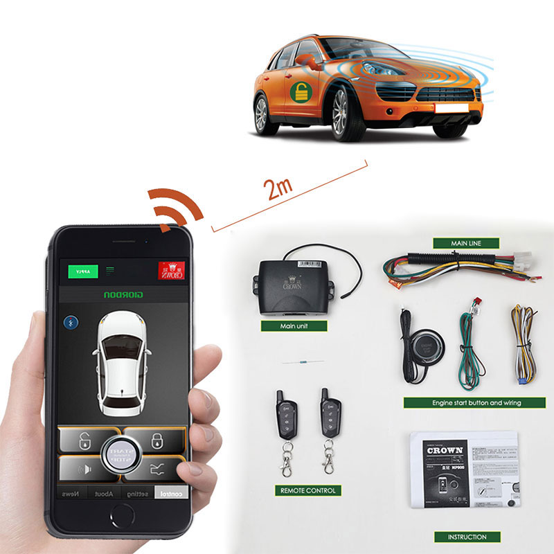 Remote Start Keyless Entry Central Locking For Android APP Vibration ACC PKE Start Stop Auto Car Alarm Security System MP900
