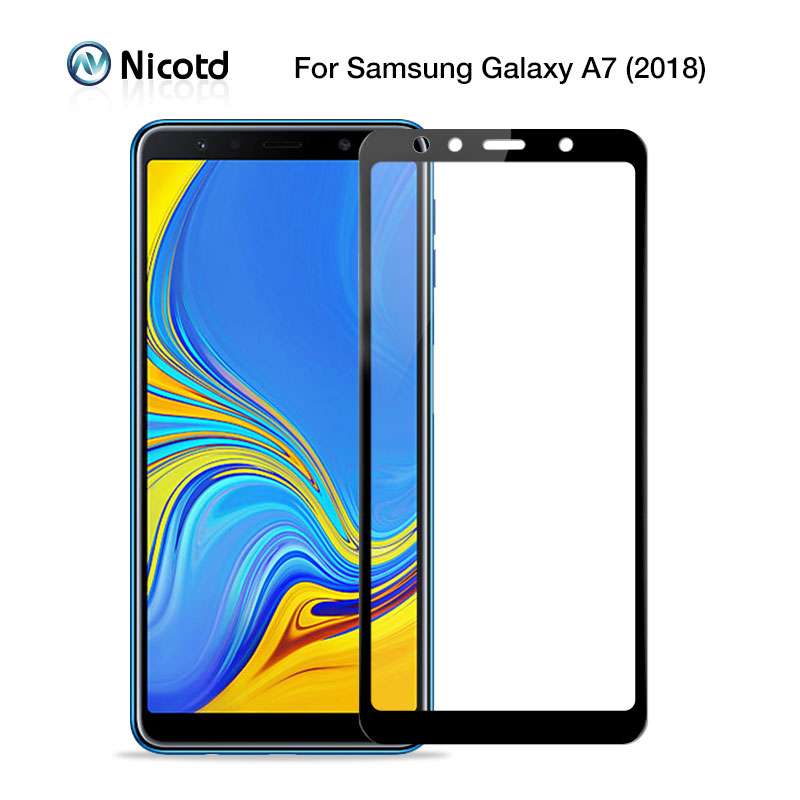 For Samsung Galaxy A7 2018 6.0 Tempered Glass For Samsung A7 2018 A 7 A750F A750 SM-A750F Screen Protector Full Cover Glass Film