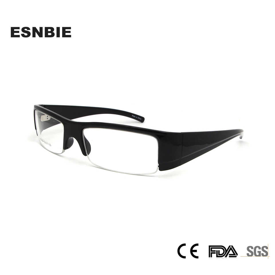 a2708a348f1 ESNBIE TR90 Spectacles Frames Male Square Half Frame Glasses Men 6 Base  Designs Optical Glasses Black