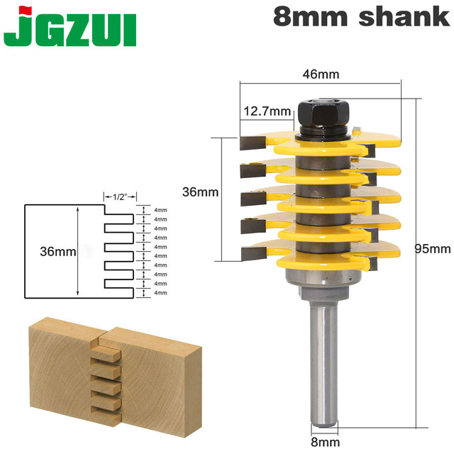 "1pc Box Joint Router Bit   Adjustable 5 Blade   3 Flute   8"" Shank For Wood Cutter Tenon Cutter for Woodworking Tools"