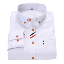 Spring Men's Long Sleeve Shirt Oxford Spinning High Quality New Business Solid Color Casual Slim Men Dress Shirt Plus Size M-4XL
