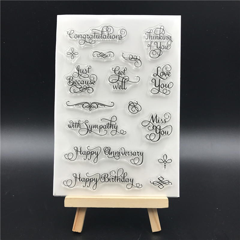 Words Transparent Clear Silicone Stamps for DIY Scrapbooking/Card Making/Kids Christmas Fun Decoration Supplies A766 kscraft butterfly and insects transparent clear silicone stamps for diy scrapbooking card making kids fun decoration supplies