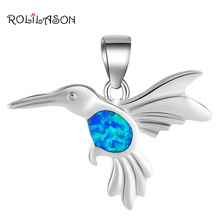 Unique Bird design special gifts for friend Blue Fire Opal 925 sterling Silver Necklace Pendants Fashion jewelry OP509