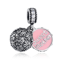 925 Sterling Silver Jewelry Sweet Mother Pendant With Pink Enamel Charm For Mother S Day Gift