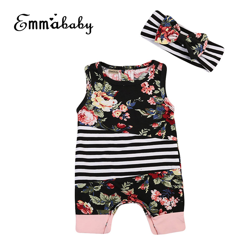 Toddler Newbron Baby Girls Clothes bebek giyim Floral Print Sleeveless Romper Jumpsuit Headband Babies Outfits Clothing 0-2Y