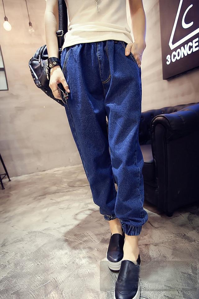 New Fashion Korean Women Jeans Plus Size XXL Size Elastic Wasit Cowboy Pants Casual Loose Denim Capris Baggy Jeans Pants S~XXL inc new solid white women s size 0 knitted capris cropped pants $59 056
