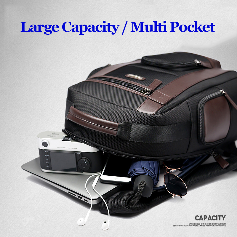 Bopai New Black Multi Pocket Men Backpack Business Solid Nylon Men Daypacks Mochila Bags Convenient Usb Charging Backpack Women #4