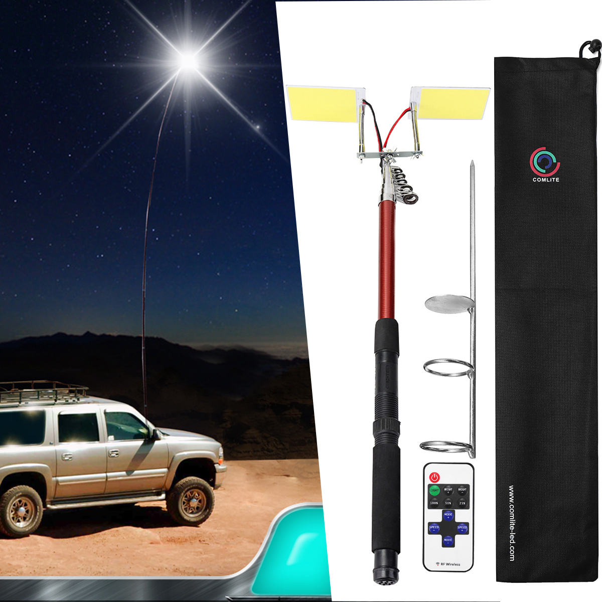 3.75M 12V Telescopic LED Fishing Rod Outdoor Lantern Camping Lamp Light For Road Trip Self-drive Travelling With Remote Control