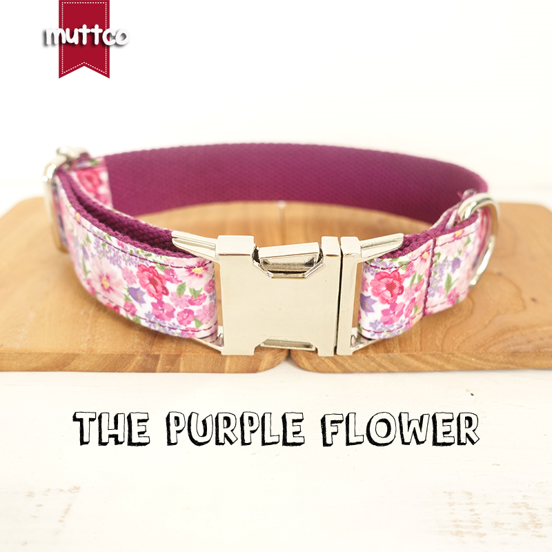 20pcs/lot MUTTCO wholesale personalized particular dog collar THE PURPLE FLOWER creative dog collars and leashes 5 sizes UDC049