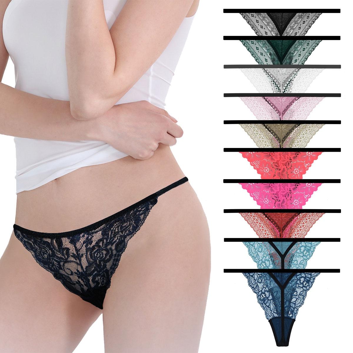 10 Pcs/lot Sexy Lace Cotton Women G-String Thong T-Back Ladies Tangas Lingerie Plus Size Panties Underwear Modis Underpants