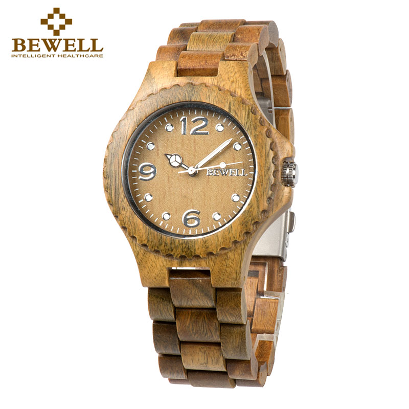 BEWELL Watch Wood-Strap Quartz Time Natural-Wood Luxury Fashion Display 038 Handmade
