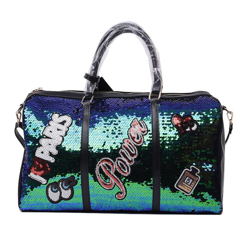 Fashion Casual Women Sequins Travel Bag Letters Shoulder Diagonal Bags Girl Large Capacity Outdoor Handbag