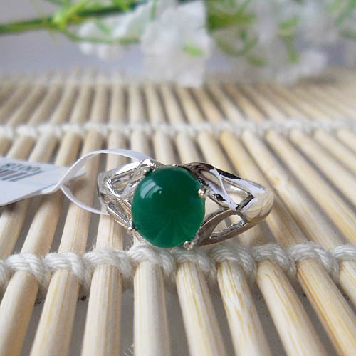 Aliexpress com : Buy LANZYO 925 Sterling Silver Rings Natural Green  Chalcedony Gemstone Fine Jewelry Birthday for Women Rings wholesale  00187169 from