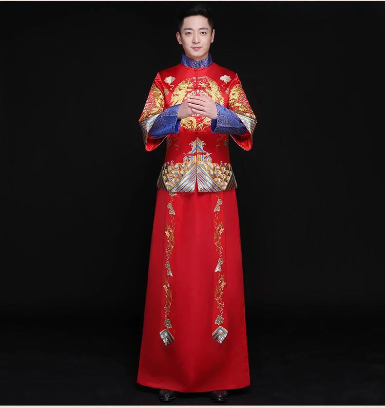 Red Overseas Chinese Clothing Bridegroom Traditional Wedding Long Robe Gown Men Dragon Embroidery Costume Suit Toast