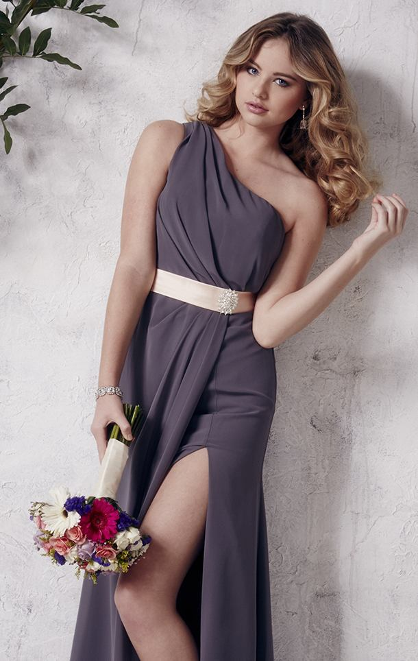 One SHoulder Charcoal Long bridesmaids dress With Thigh High Slit ...
