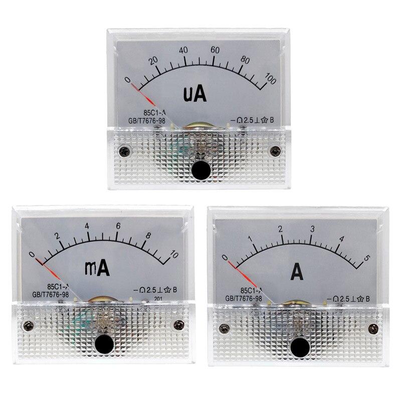 100% Wahr 85c1 Amperemeter Dc Analog Current Meter Panel Mechanische Zeiger Typ 1/5/10/20/30/ 50/100/200/300/500ma Ein Elegant Und Anmutig
