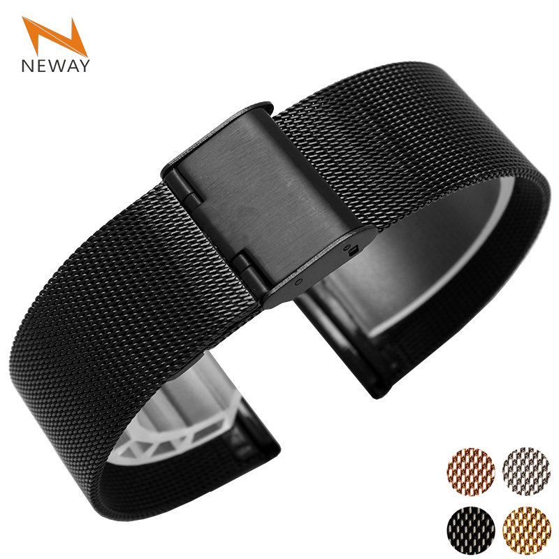 Metal Stainless Steel Milanese Watch Band Strap Wrist Watchband Buckle Black Rose Gold Silver 12mm 14mm 16mm 18mm 20mm 22mm 24mmMetal Stainless Steel Milanese Watch Band Strap Wrist Watchband Buckle Black Rose Gold Silver 12mm 14mm 16mm 18mm 20mm 22mm 24mm