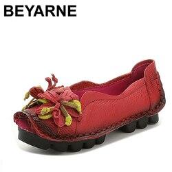 Beyarne plus size (34-43) mocassins mulheres confortáveis sapatos planos de couro genuíno mulher casual enfermeira sapatos de trabalho feminino apartamentos