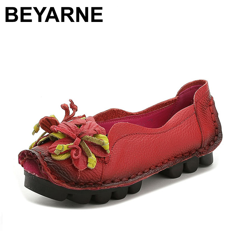 BEYARNE  Plus Size(34-43) Loafers Comfortable Women Genuine Leather Flat Shoes Woman Casual Nurse Work Shoes Women Flats genuine leather flats women loafers woman slip on shoes casual skate walking flat shoes plus size 34 40 41 42 43