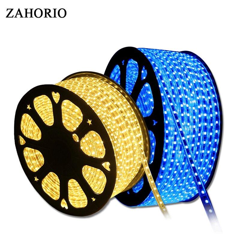 Waterpoof AC 220V SMD 5050 LED Strip light Tape 60 LEDs/m Indoor & Outdoor Holiday Christmas Decor lighting String EU Plug 1-25M