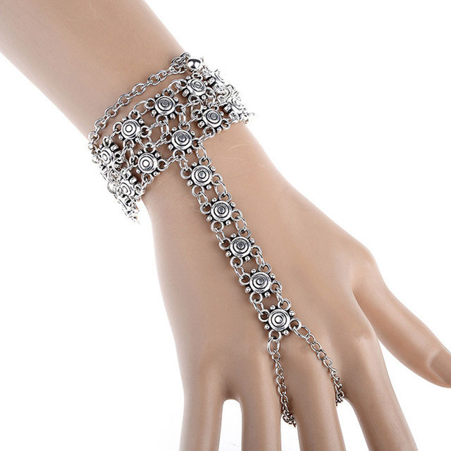 Gypsy Antique Silver Turkish Flower Statement Anklet Ankle Bracelet Beach Jewelry Ethnic Tribal Festival  Wholesale 12 Pcs