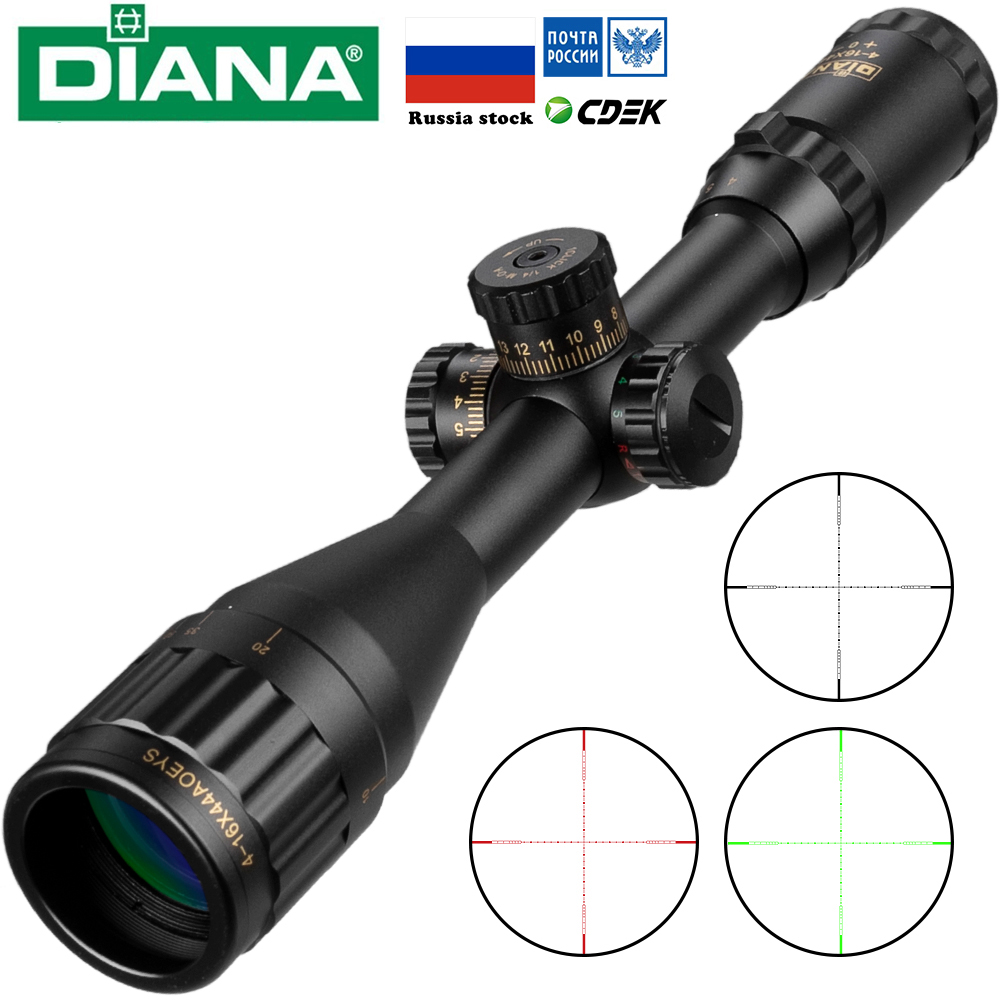 DIANA 4-16x44 Tactical Riflescope Optic Sight Green Red Illuminated Hunting Scopes Rifle Scope Sniper Airsoft Air Gun S