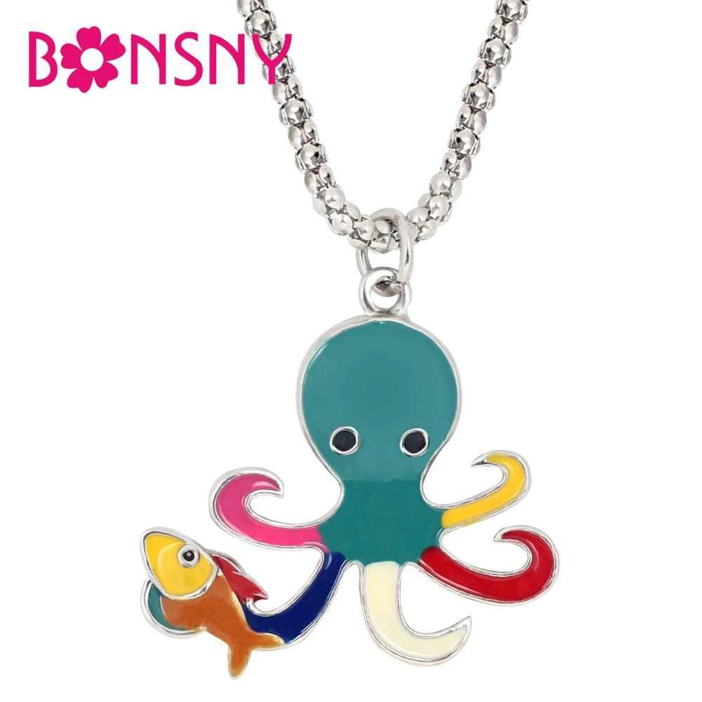 Bonsny Enamel Alloy การ์ตูน Octopus ปลาสร้อยคอจี้ Choker สัตว์ทะเลเครื่องประดับสำหรับวัยรุ่นหญิงวันเกิดของขวัญ