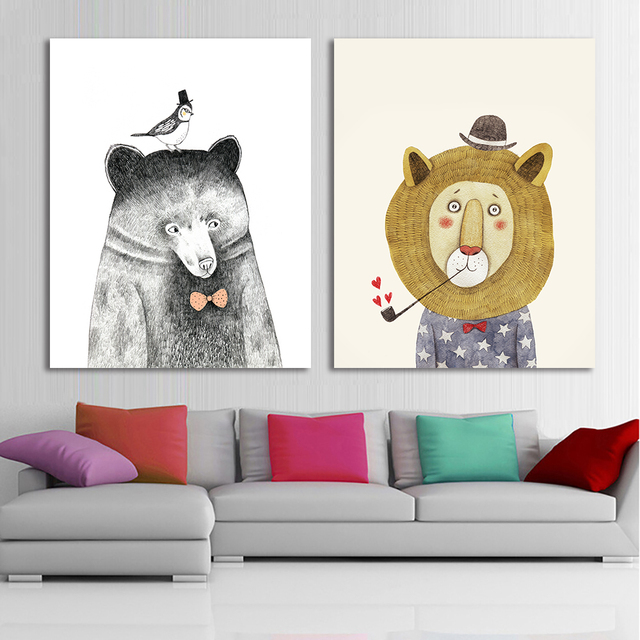 Cute cartoon animals print frameless canvas art canvas for Kids room canvas
