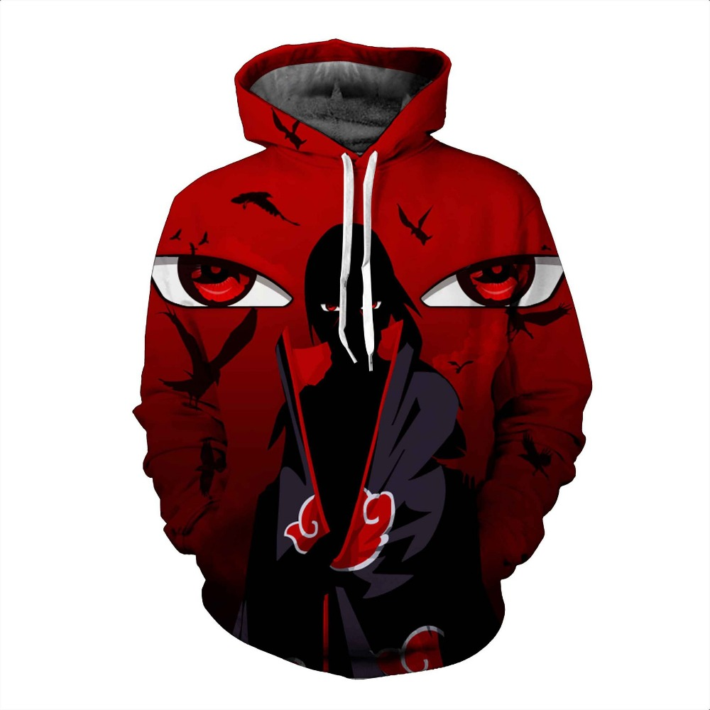 Autumn Winter Thin Stylish 3d Sweatshirts Men/Women Hoodies With Hat Print Naruto  Hooded Hoody Tops plussize US Size