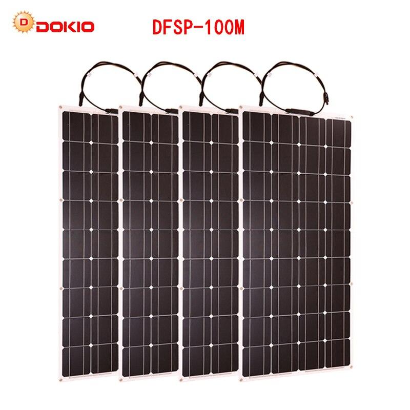 Dokio 4 PCS 8 PCS 100 W Pannello Solare Monocristallino Cella Solare Flessibile per Auto/Barca/Nave A Vapore 12 V 24 Volt 100 Watt Solare Batteria