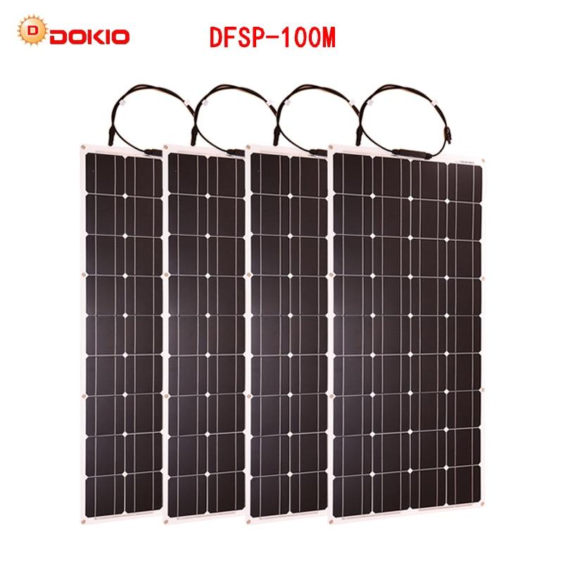 Dokio 4 pz 8 pz Pannello Solare 100 w Monocristallino Cella Solare Flessibile per Auto/Barca/Nave A Vapore 12 v 24 Volt 100 Watt Solare Batteria