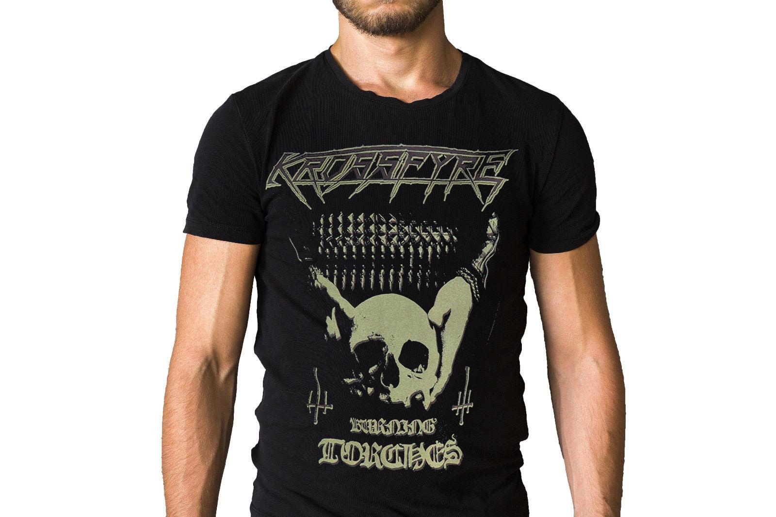 Krossfyre Burning Torches 2017 Logo Album T-Shirt Summer Short Sleeve Shirts Tops S~3Xl Big Size Cotton Tees Free Shipping