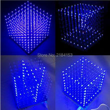 WeiKdez 8x8x8 LED Cube 3D Light Square Blue LED Electronic DIY Kit