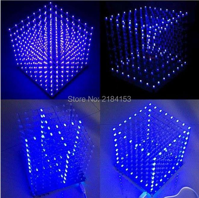 WeiKdez 8x8x8 LED Cube 3D Light Square Blue LED Electronic DIY Kit