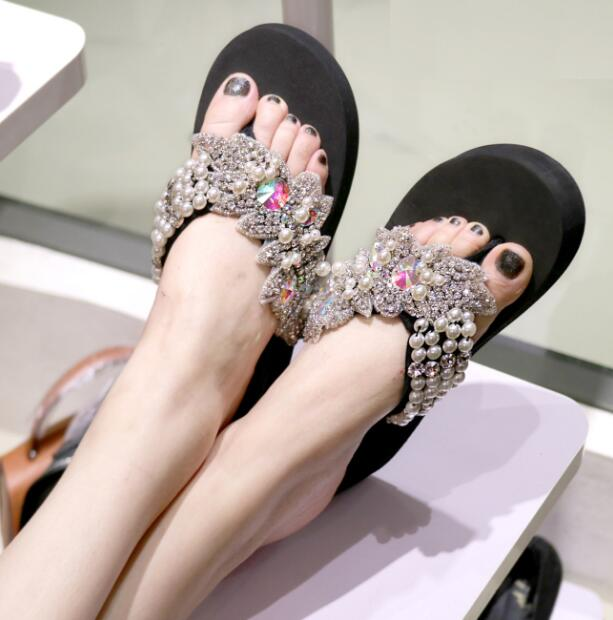 HAHAFLOWERsummer women sandals shiny diamond crystals handmade pearl slip on sandal slides bohemia slippers wedge platform heels in Flip Flops from Shoes