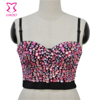Corzzet Women Fashion Gothic Pink Crystal Diamond Gothic Bustiers Top Push Up Punk Bra For Sexy Party Club Dancing Performace