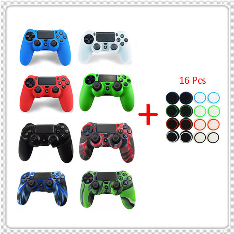 2017 New Soft Silicone Rubber Case Cover For Play Station Dualshock 4 PS4 DS4 Pro Slim Wireless Controller Skin + 16 Thumb Grips