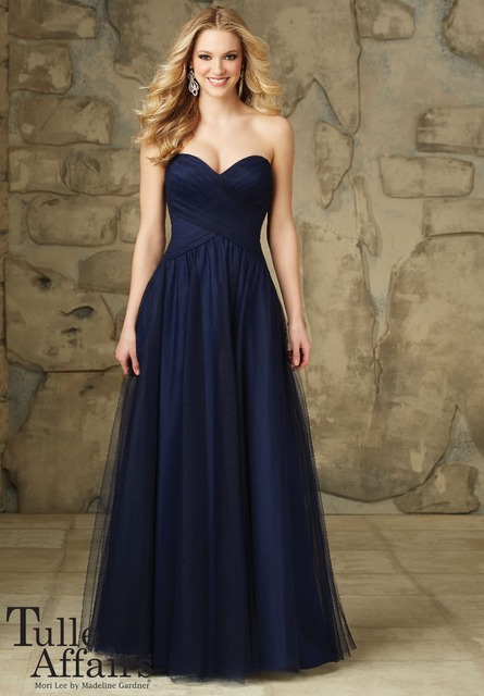 Strapless Pleat Tulle Long Navy Blue Bridesmaid Dresses