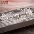 White Elegant hairband women pearl hair jewelry crystal tiara handmade hair ornaments bride crown wedding accessories boluo