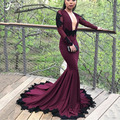 Fashion Dark Purple Plum Full Sleeves Mermaid <font><b>Evening</b></font> <font><b>Dress</b></font> for Buxom Women Custom Made Formal Occasion Maxi Gowns Vestidos Chic