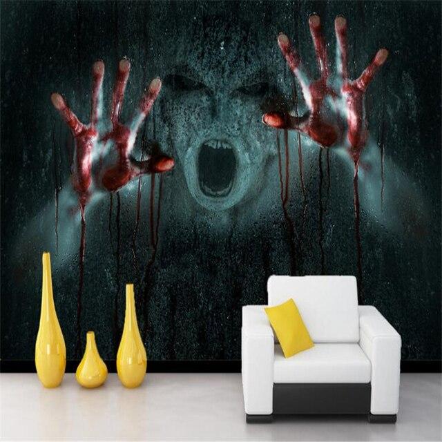 Beibehang Realistic Vampire Horror 3d Skull Rock Papel De Parede 3D Photo Wall Paper TV Background