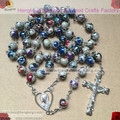 8mm plastic coloured drawing bead religious rosary with ab coating bead